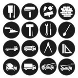 Set black round icons construction. Building tools and cars. 16 Set black round icons construction. Building tools and cars Stock Image