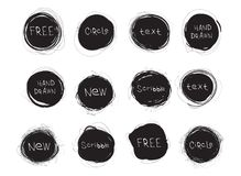Set of black round stains isolated on white background. Hand drawn scribble circles. Vector logo. Set of black round stains isolated on white background. Hand stock illustration