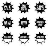 Black sale and promotion starburst sticker buttons royalty free illustration