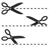 Set of Black Scissors with Cut Lines Vector Isolated. Eps 10 Royalty Free Stock Photo