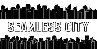 Set of black seamless city silhouette. Urban and sky scraper. Vector illustration. Stock Photography