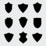 Set of black shield icons. Vector illustration on checked background Stock Photos