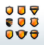 Set of black shiny shield icons  illustration Stock Photography