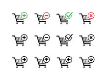 Set of black shopping carts icons with add, delete and move signs Stock Photography