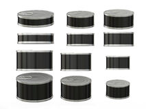 Set of black short cylindrical tin cans in various sizes, clippi. Set of black  short  cylindrical  tin cans in various sizes . General can  packaging  with Royalty Free Stock Photos