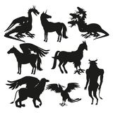 Set black silhouette animal greek mythological creatures. Vector illustration Stock Photo
