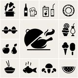 Set of black silhouette food icons. Depicting cooking  beer  juice  egg  desserts and beverages  fruit  ice cream  salad  fish  meat  mushroom and watermelon Royalty Free Stock Images