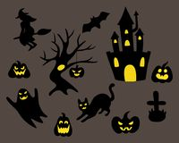 Set of black silhouette halloween Royalty Free Stock Photography