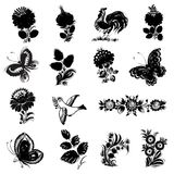 Set of black silhouette. Set of hand drawn illustrations in Ukrainian national style Stock Images