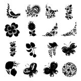 Set of black silhouette. Set of hand drawn illustrations in Ukrainian national style Stock Photography