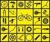 Set of black silhouette icons of bicycle spare parts. Royalty Free Stock Photo