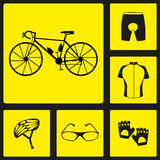 Set of black silhouette icons of bicycle uniform. Six bike icons, infographic elements. Vector illustration. Bicycle set number th Stock Images