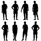 Set Black silhouette man standing, people on white background.  vector illustration