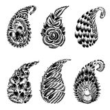 Set of black silhouette paisley. Set of hand drawn illustrations in Ukrainian national style Stock Photography