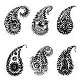 Set of black silhouette paisley Stock Images