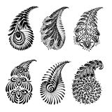 Set of black silhouette paisley Stock Photography