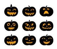 Set of black silhouette pumpkins with eyeball Stock Image