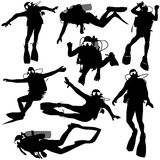 Set black silhouette scuba divers Stock Photos