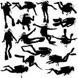 Set black silhouette scuba divers. Vector illustration Stock Photo