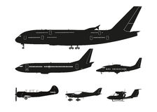 Set of black silhouettes of aircraft on a white background . Col Stock Image