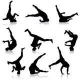 Set Black Silhouettes breakdancer on a white background Stock Image