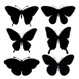 Set of black silhouettes of butterflies Royalty Free Stock Images