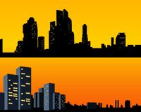 Set Black silhouettes city with light Windows. Town at backdrop stock illustration