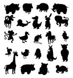 Set of black silhouettes of different animals Royalty Free Stock Images