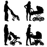 Set black silhouettes Family with pram on white background. Vector illustration Royalty Free Stock Image