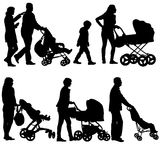 Set black silhouettes Family with pram on white background. Vector illustration Stock Photos