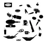 Set of black silhouettes of food and kitchen Royalty Free Stock Photo