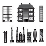 Set of black silhouettes of houses isolated on white background. Royalty Free Stock Images