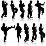 Set of black silhouettes of karate. Sport. Vector illustration Stock Photos