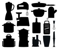 Set of Black Silhouettes of Kitchen Instruments vector illustration