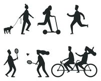 Set of Black Silhouettes of People Having Fun royalty free illustration