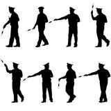 Set black silhouettes  Police officer  with a rod Stock Photo