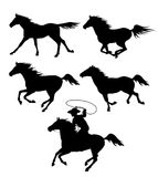 Set of black silhouettes of running horses and a cowboy with a l. Asso isolated on white. Vector illustration Stock Images