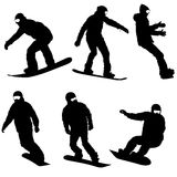 Set black silhouettes snowboarders on white background. Vector illustration Royalty Free Stock Photos