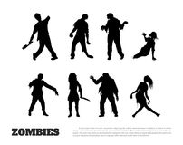 Set of black silhouettes of zombies on white background. Isolated image of undead monster. Vector illustration Stock Photo
