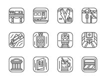 Set of black simple line railway icons Stock Image
