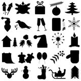 Set of 25 black simple of New Year icons. On a white background Stock Photo