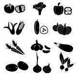 Set of black simple vegetables icons Stock Images