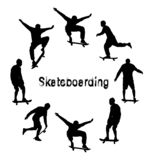 Set of black skateboarder silhouettes. Grunge style textured text vector illustration
