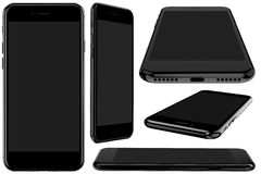Set of black smartphone with a blank screen,. Set of black smartphone with a blank screen on a white background Stock Image