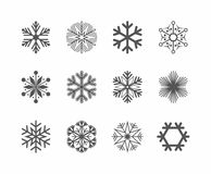 Set of Black Snowflake icon. Vector Illustration.  Royalty Free Stock Photography
