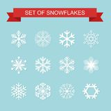 Set of Black Snowflake icon. Vector Illustration.  Stock Photos