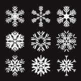 Set of black snowflakes Royalty Free Stock Photo