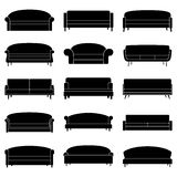 Set of black sofa icons, vector illustration Royalty Free Stock Image