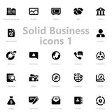 Set of black solid business icons Stock Images