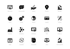 Set of black solid business icons isolated on light background. Contains such icons Production, Certification, Process, Event, Profit and more Royalty Free Stock Image